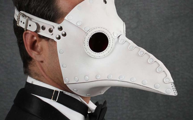 plague doctor mask white leather