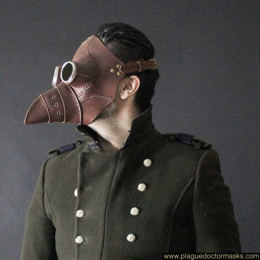 larp plague doctor mask in brown
