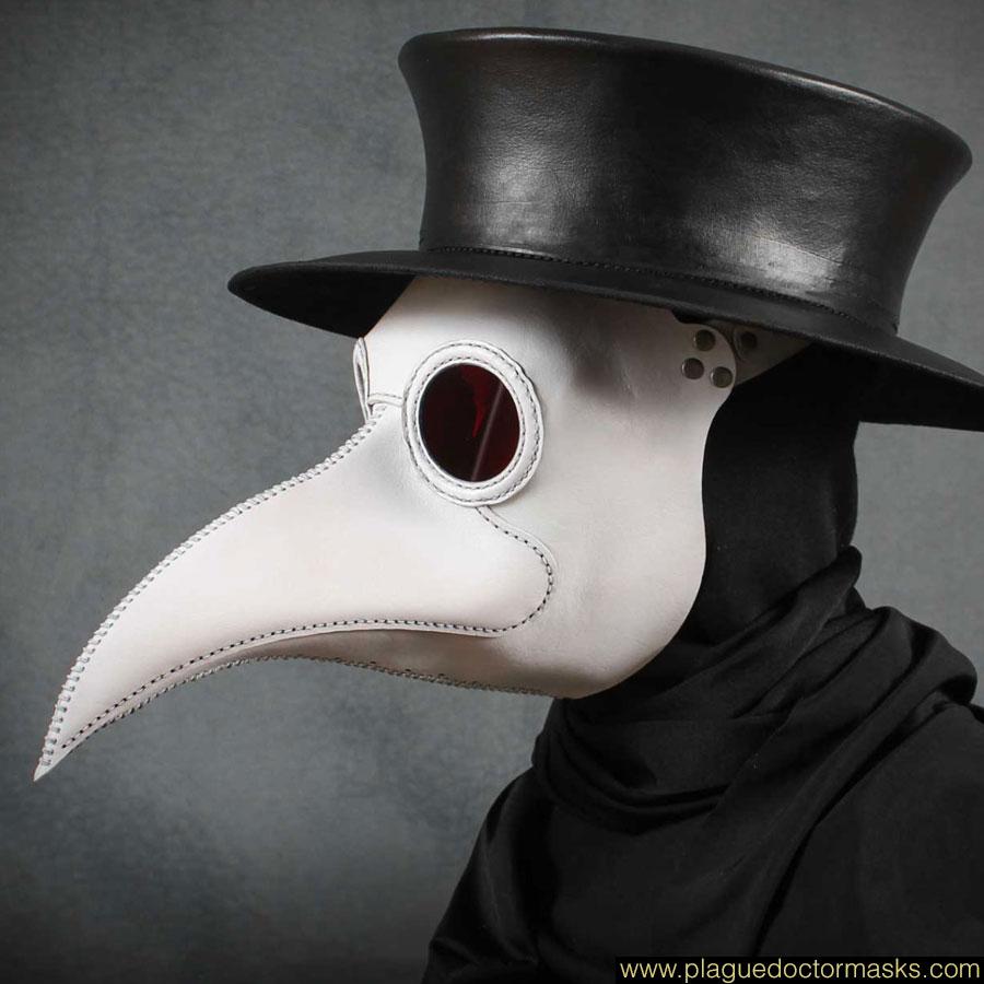 Plague Doctor Mask White Raven Allows Wear Eyeglasses