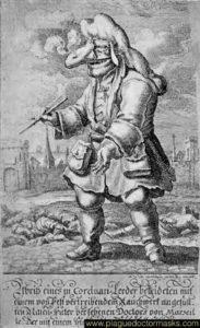 Caricatura de un doctor de la peste de Marsella, Francia